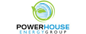 powerhouse logo with is bright green and bright blue