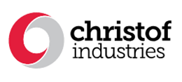 christoff industries in a black bold found with a red and grey circle located to the left
