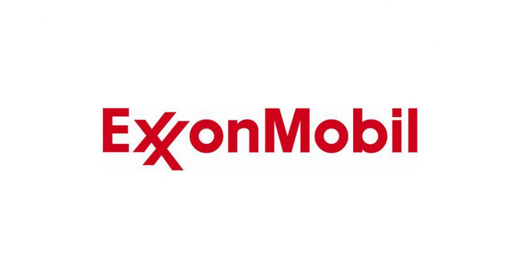 exxonmobil logo in bold red text with a white background