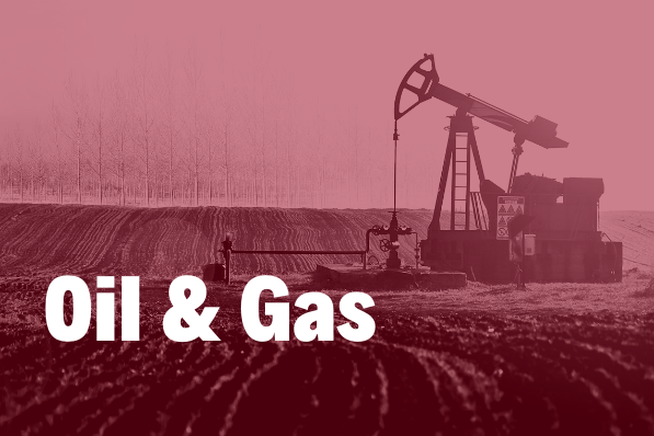 Oil and Gas in white bold text over an image of an oil pump