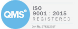 QMS ISO 9001:2015 certificate of registration, a blue circular badge with white letters Q, M, and S in the middle