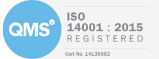 QMS ISO 14001:2015 certificate of registration, a blue circular badge with white letters Q, M, and S in the middle