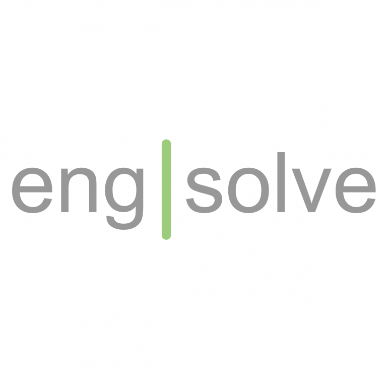 new engsolve branfing with slim grey text and a green line going through the words eng and solve